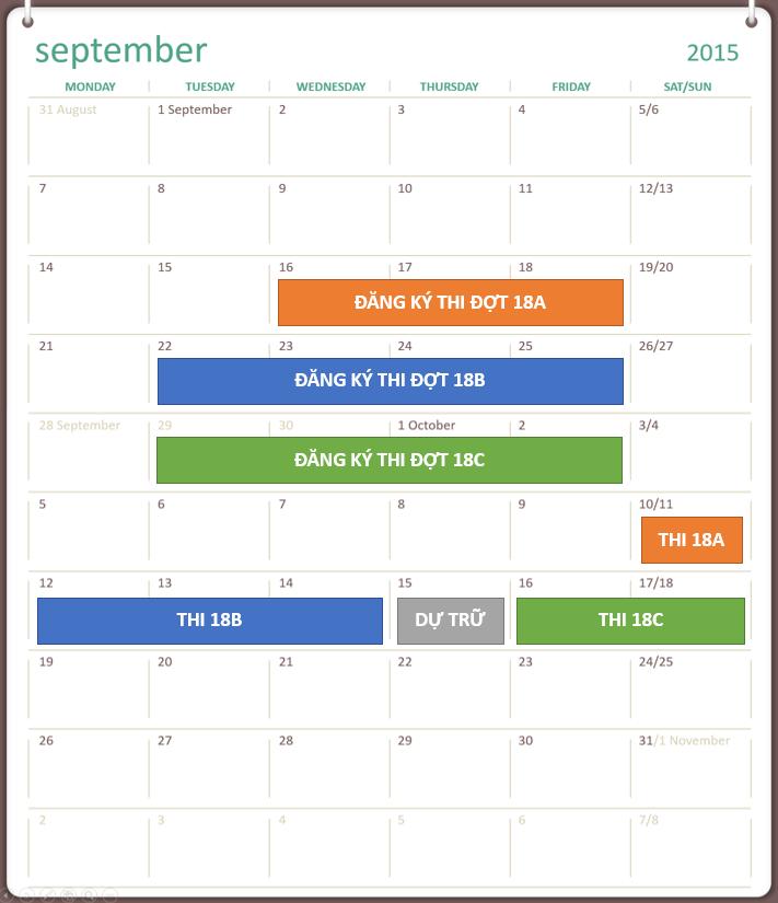 Lịch đăng ký và lịch thi TOEIC lần thứ 18